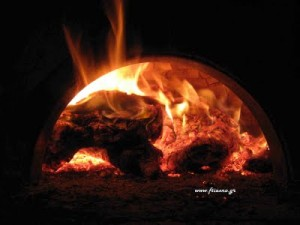 Handmade Oven with Fire-Inshide-Night
