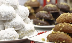 Various Christmas traditional desserts on the table